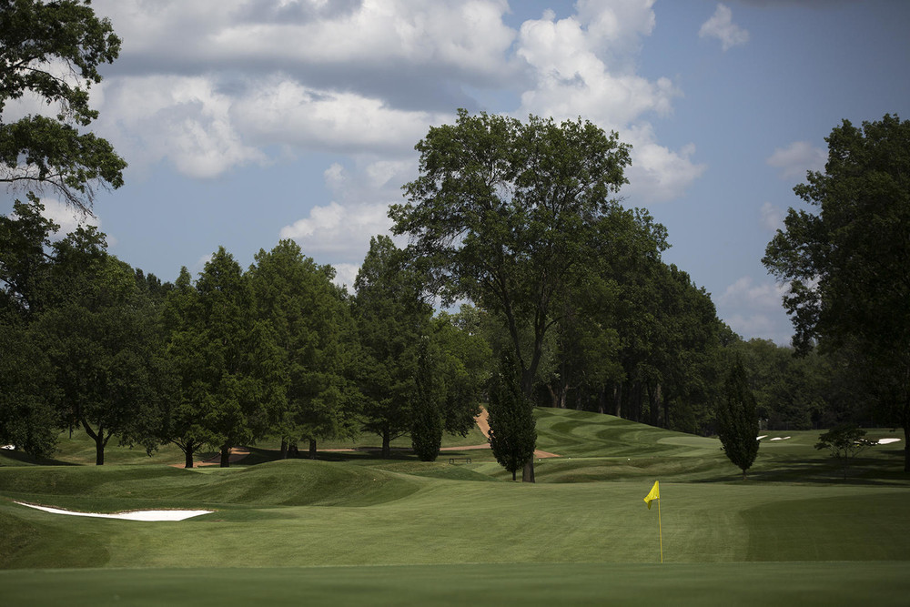 Workers set up for the 2018 PGA Championship at Bellerive Country Club in  Town and Country in June.