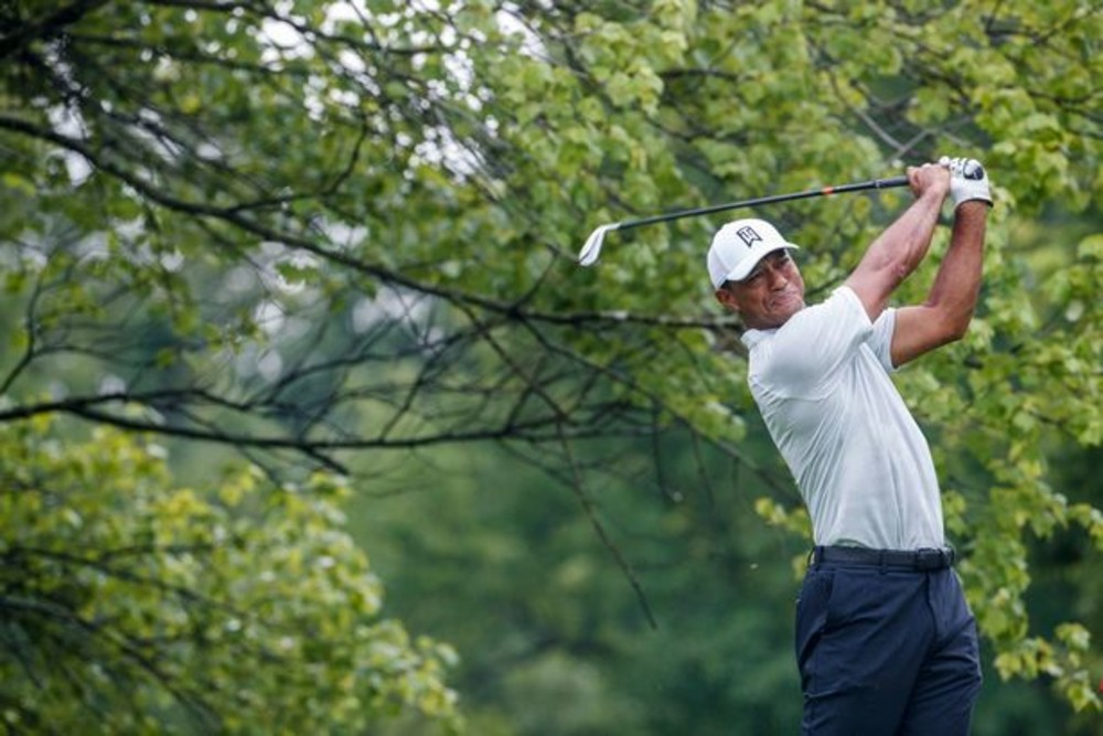 Tiger Woods during a practice round at Bellerive (Image: REX/Shutterstock)